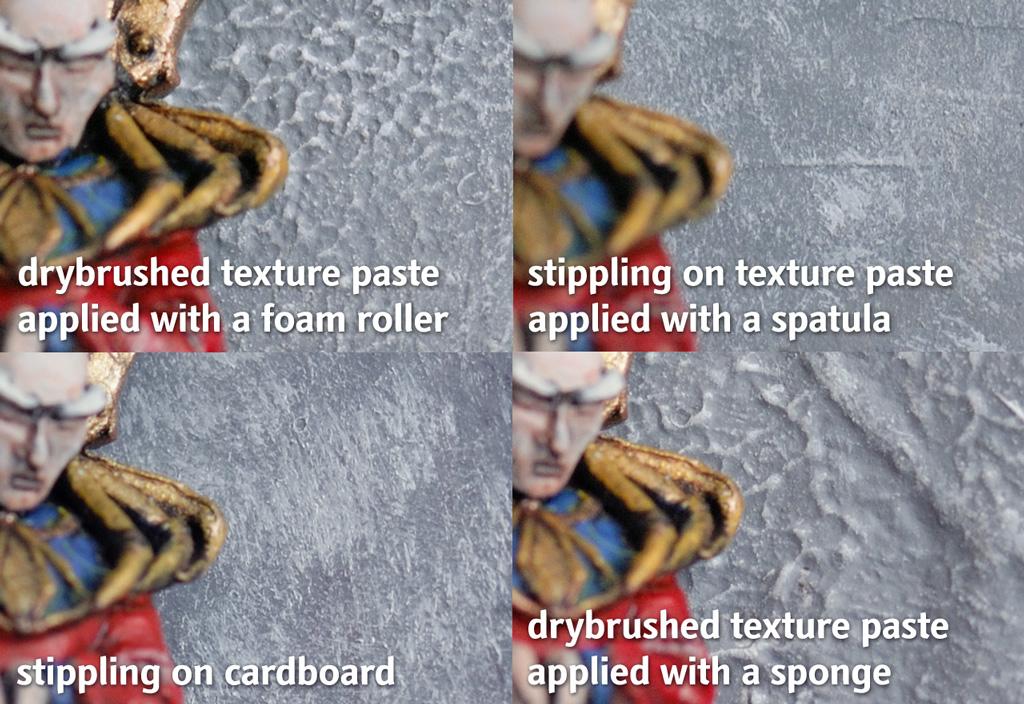 Emulating concrete and rock: texture paste vs. stippling