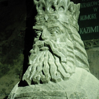 Chiseled underground bust of King Casimir III the Great