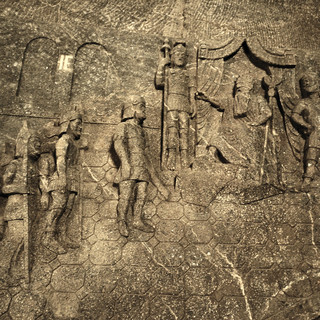 Chiseled underground relief of King Herod and his soldiers