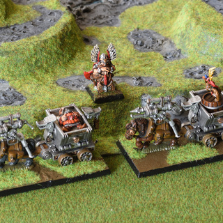 Dwarf thane and mine cart unit fillers with a wounded dwarf and a monkey on a beer barrel