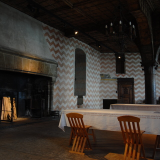 Castle Chillon: a fireplace in the dining room