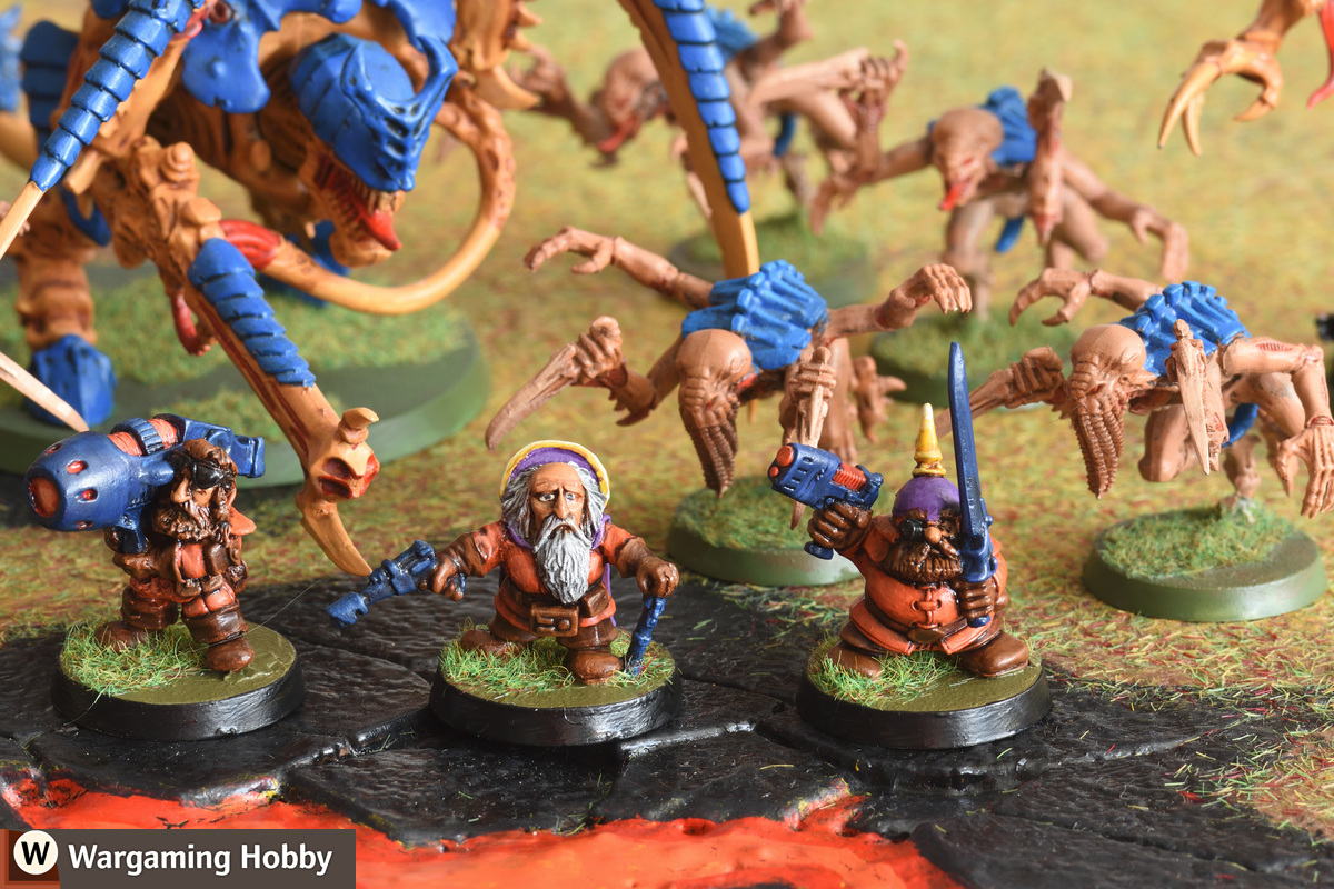 Squats wait to be eaten by Tyranids on a volcanic planet