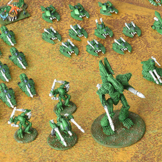 Epic Eldar Phantom Titan leads and armoured force