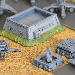 An Epic imperial bunker from Forgeworld, a Hydra platform, a Valkyrie and a Vulture Gunship