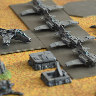 Epic imperial airbase with Forgeworld Thundebolt Fighters and a Vulture Gunship