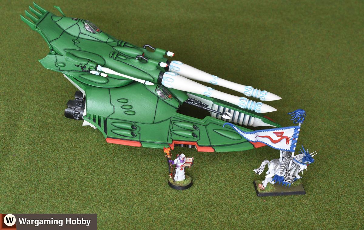 Eldar Scorpion (Humbrol 130) and High Elves (standard white)