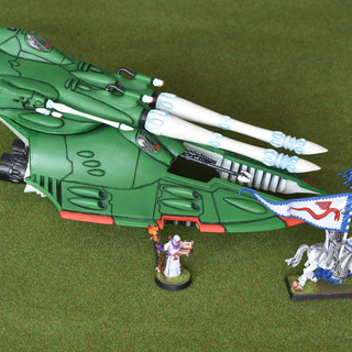 Eldar Scorpion (Humbrol 130) and High Elves (standard white)