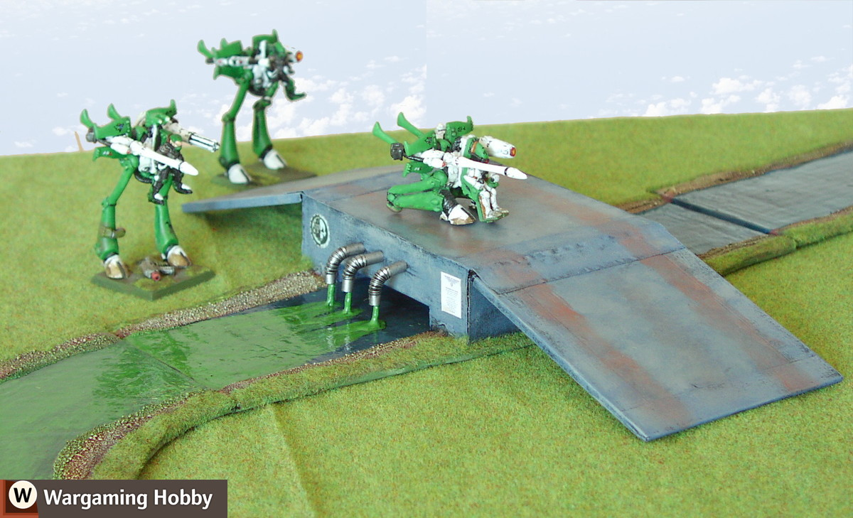 Sci-fi bridge with a sewer pouring dangerous chemicals